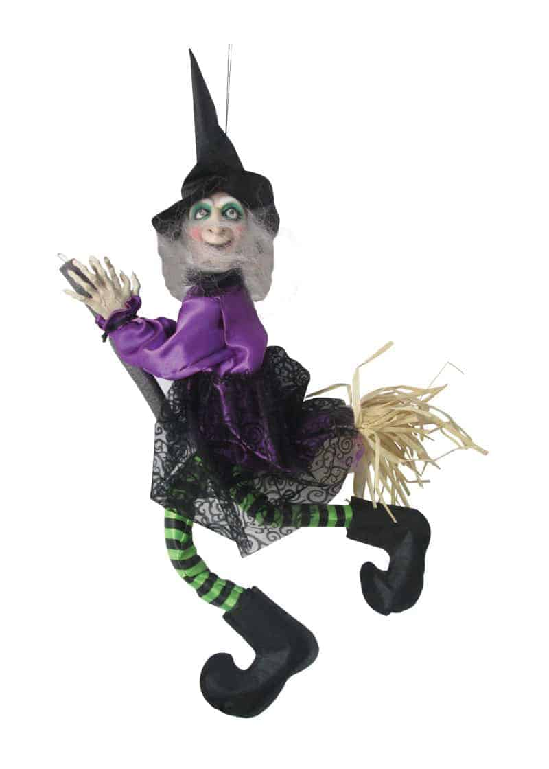 animated witch on broom with lights 50cm | the cps warehouse
