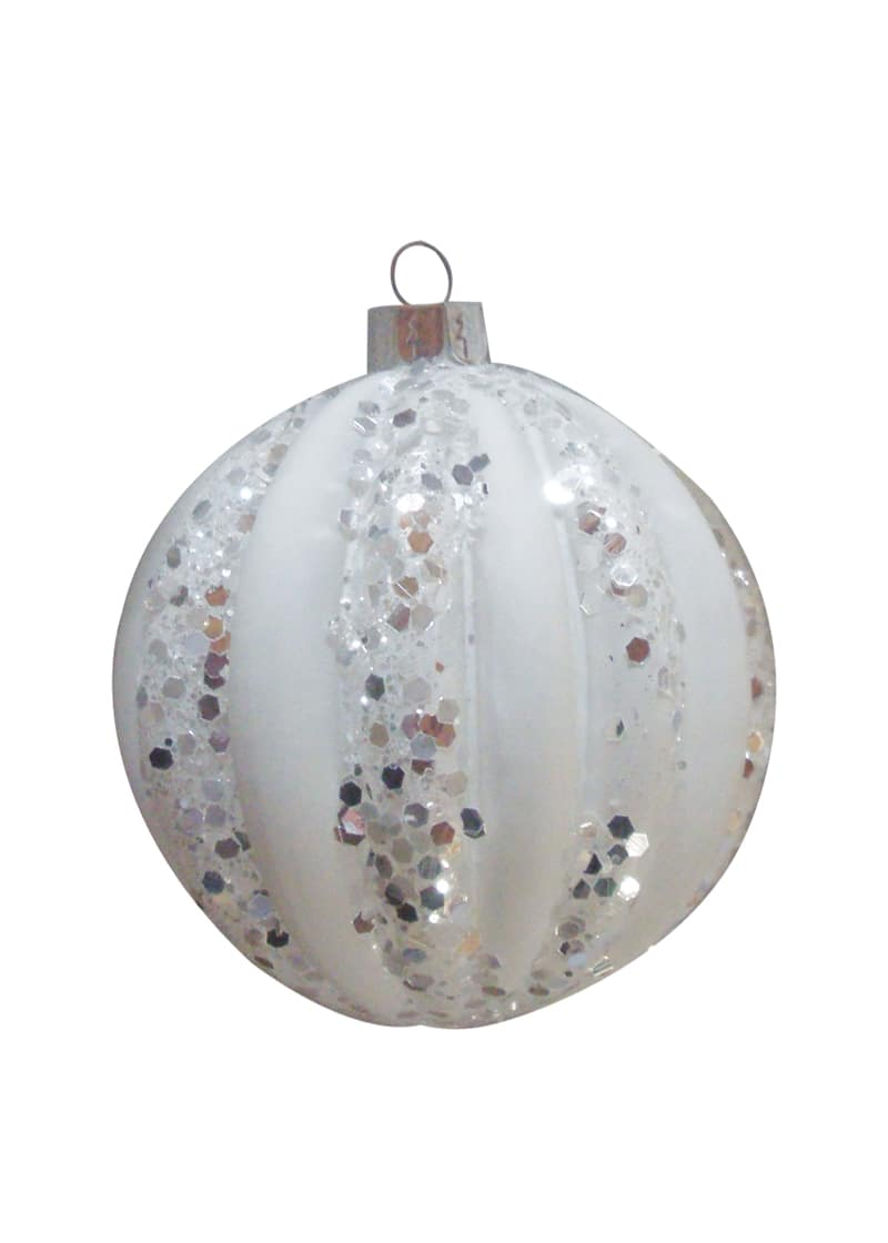 Glass bauble ribbed with snow white sets of 4 the cps warehouse