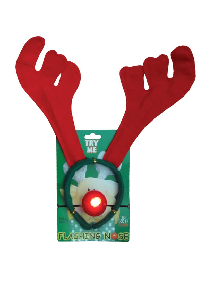 Reindeer antlers with lightup nose 32cm the cps warehouse