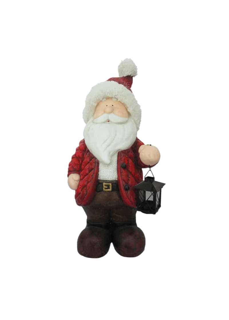 Santa with snow coat amp lantern 61cm the cps warehouse