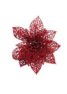 Red poinsettia glitter decor pack
