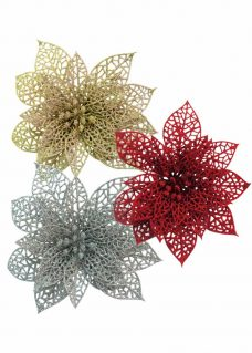 Glitter Poinsettia Decor Packs