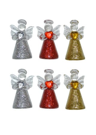 glass angel holding heart