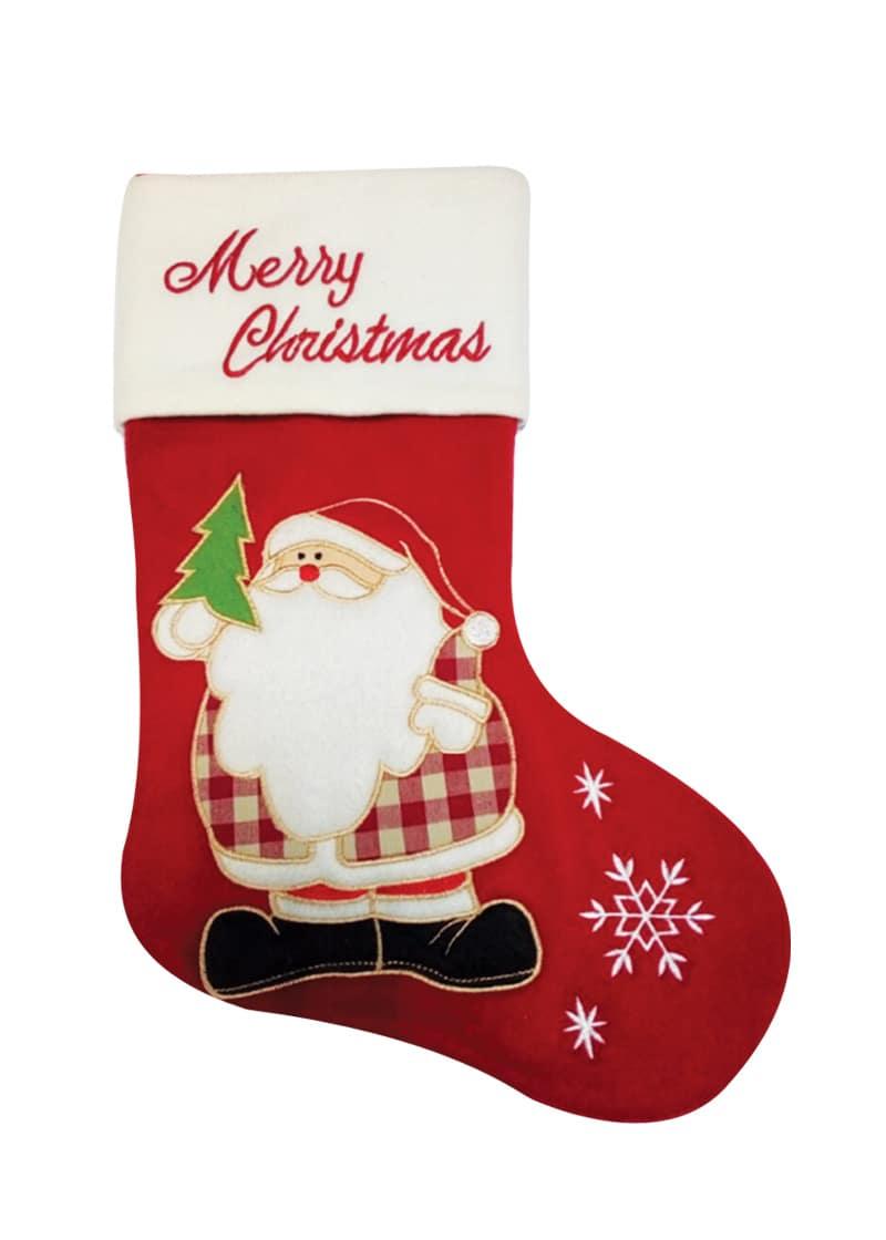 Christmas Fleece.Red Fleece Stocking With Santa And Merry Christmas 49cm