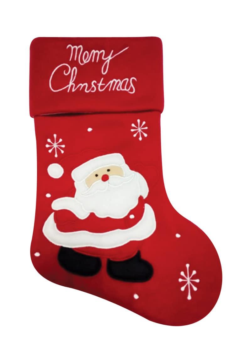 Christmas Fleece.Dark Red Fleece Stocking With Santa And Merry Christmas 49cm