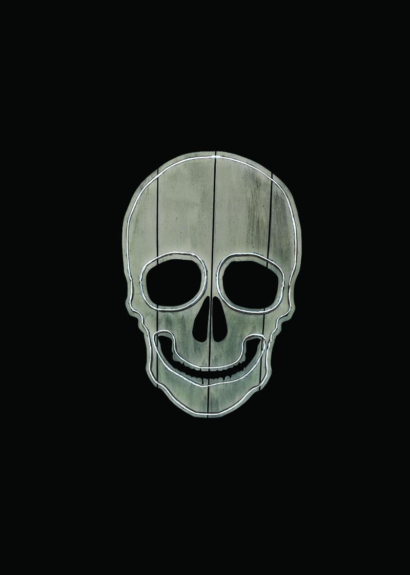 skull neon outline