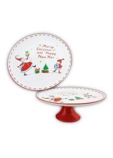 Cake-Plate-Santa-&-Elf-WhiteRed-27cm