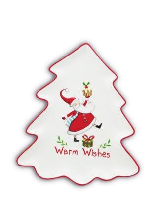 Plate-Christmas-Tree-Shape-wSanta-26cm