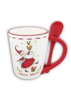 Mug-wSpoon-wSanta-WhiteRed-13cm