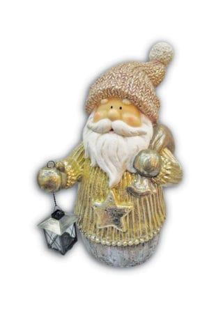 santa holding lamp and sack