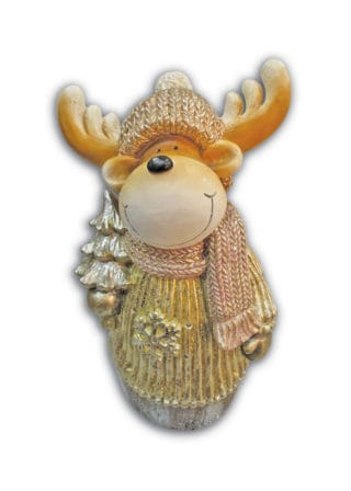reindeer with scarf and tree