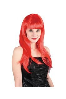 red wig with fringe