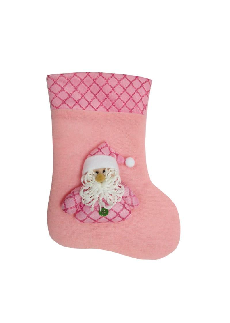 Pink Christmas Stocking.Pink Baby Santa Stocking 25cm